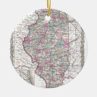 Map of Illinois, Joseph Hutchins Colton Christmas Ornament