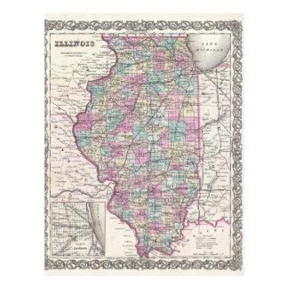 Map of Illinois, Joseph Hutchins Colton Postcard