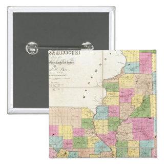Map of Illinois & Missouri 15 Cm Square Badge