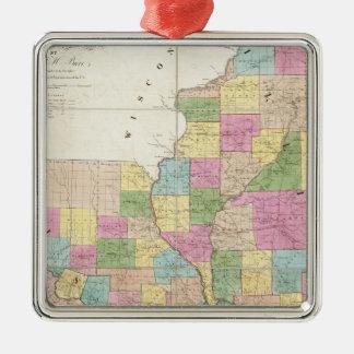 Map of Illinois & Missouri Silver-Colored Square Decoration