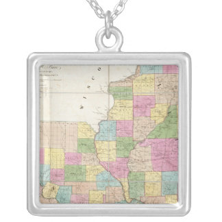 Map of Illinois & Missouri Silver Plated Necklace
