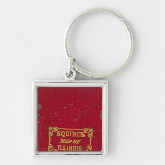 Map of Illinois Silver-Colored Square Key Ring