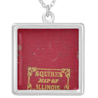 Map of Illinois Silver Plated Necklace