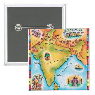 Map of India 15 Cm Square Badge