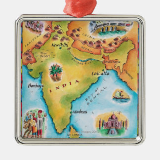 Map of India Silver-Colored Square Decoration