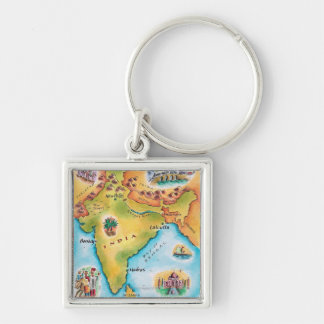 Map of India Silver-Colored Square Key Ring