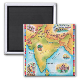 Map of India Square Magnet