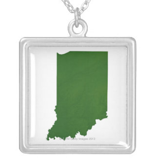 Map of Indiana 2 Silver Plated Necklace