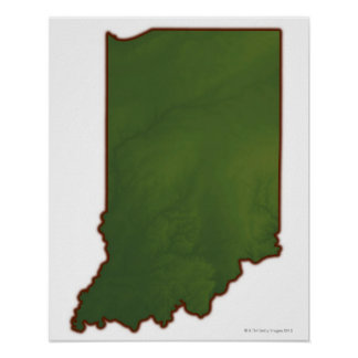 Map of Indiana 3 Poster