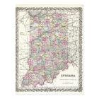Map of Indiana. Joseph Hutchins Colton Postcard