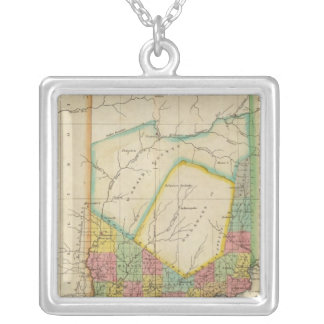 Map Of Indiana Silver Plated Necklace