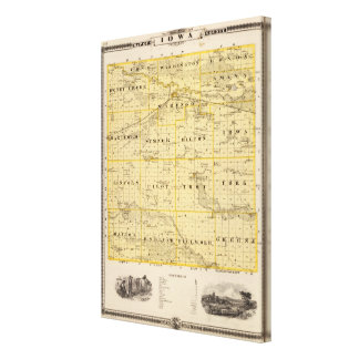 Map of Iowa County, State of Iowa Canvas Print