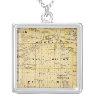 Map of Iowa County, State of Iowa Silver Plated Necklace