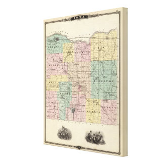 Map of Iowa County, State of Wisconsin Canvas Print