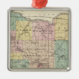 Map of Iowa County, State of Wisconsin Silver-Colored Square Decoration