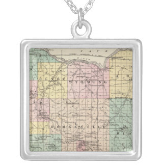 Map of Iowa County, State of Wisconsin Silver Plated Necklace