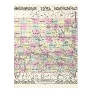 Map of Iowa. Joseph Hutchins Colton Postcard