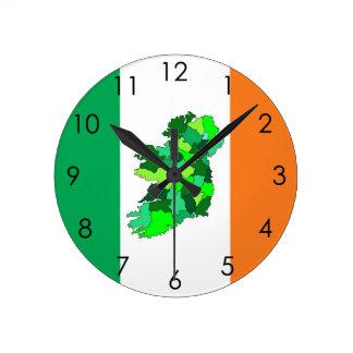 Map of Ireland and Irish Flag Wallclocks