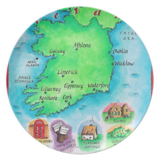 Map of Ireland Party Plate