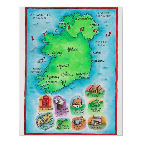 Map Of Ireland Poster.Map Of Ireland Poster Zazzle Co Uk