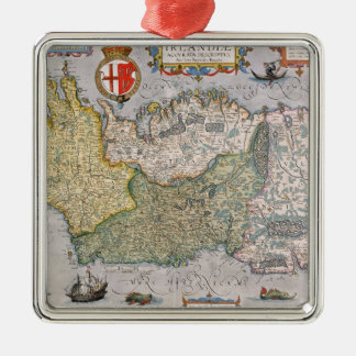 Map of Ireland Silver-Colored Square Decoration