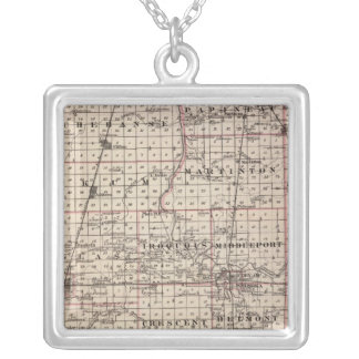 Map of Iroquois County Silver Plated Necklace