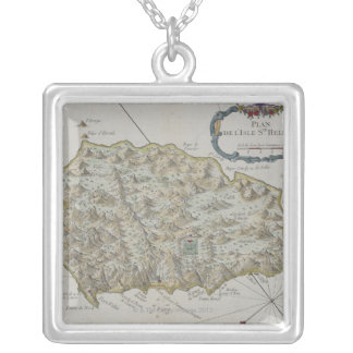 Map of Island of St. Helena Silver Plated Necklace