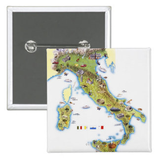 Map of Italy 15 Cm Square Badge