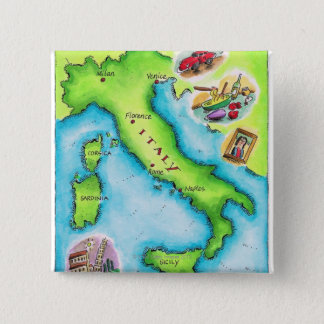 Map of Italy 2 15 Cm Square Badge
