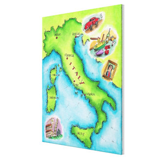 Map of Italy 2 Canvas Print