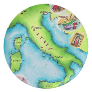Map of Italy 2 Dinner Plates