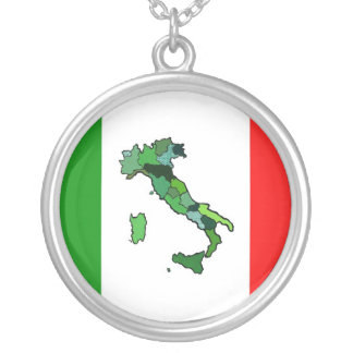 Map of Italy and Italian Flag Round Pendant Necklace