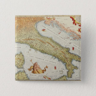 Map of Italy in 1500 15 Cm Square Badge