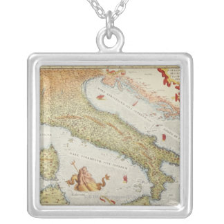 Map of Italy in 1500 Silver Plated Necklace