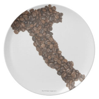 Map of Italy made of Coffee Beans Plate