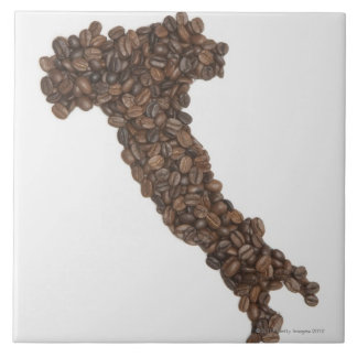 Map of Italy made of Coffee Beans Tile
