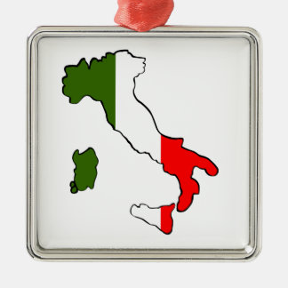 Map of Italy Silver-Colored Square Decoration