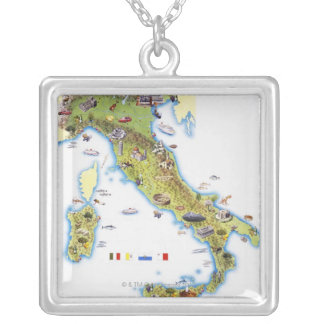 Map of Italy Silver Plated Necklace