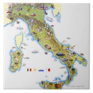 Map of Italy Tile
