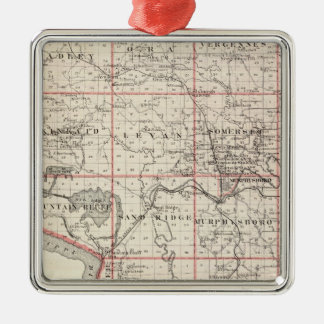 Map of Jackson County, Grand Tower Silver-Colored Square Decoration
