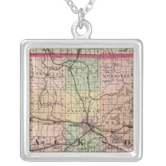 Map of Jackson County, Michigan Silver Plated Necklace