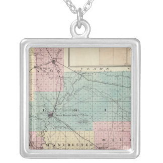 Map of Jackson County, Plat of Friendship Silver Plated Necklace