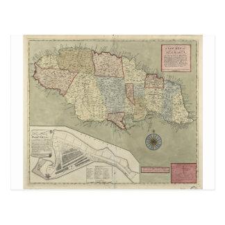 Map of Jamaica (1771) Postcard