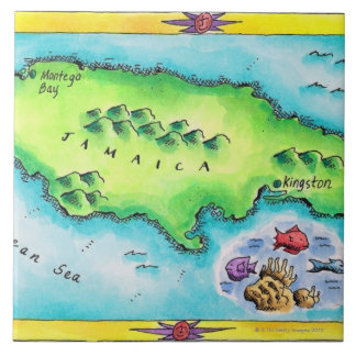 Map of Jamaica Large Square Tile