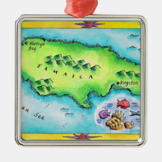 Map of Jamaica Silver-Colored Square Decoration