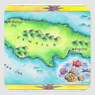 Map of Jamaica Square Sticker