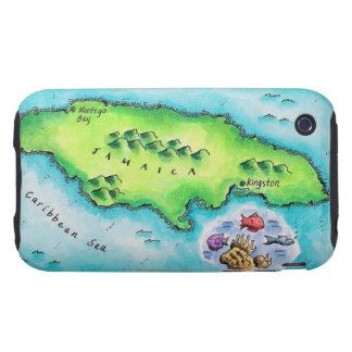 Map of Jamaica Tough iPhone 3 Cases