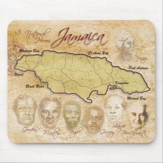 Map of Jamaica with National Heroes Mouse Mat