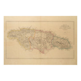 Map of Jamaica Wood Wall Decor
