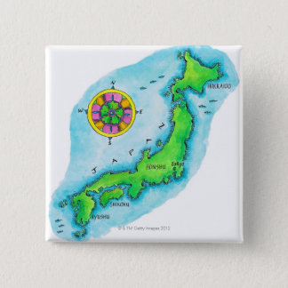 Map of Japan 15 Cm Square Badge